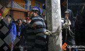 Detienen y amarran a hombre que pretendía romper protesta en Siltepec